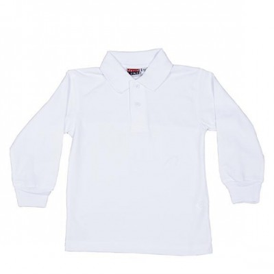 Long sleeve white polo shirt school uniform