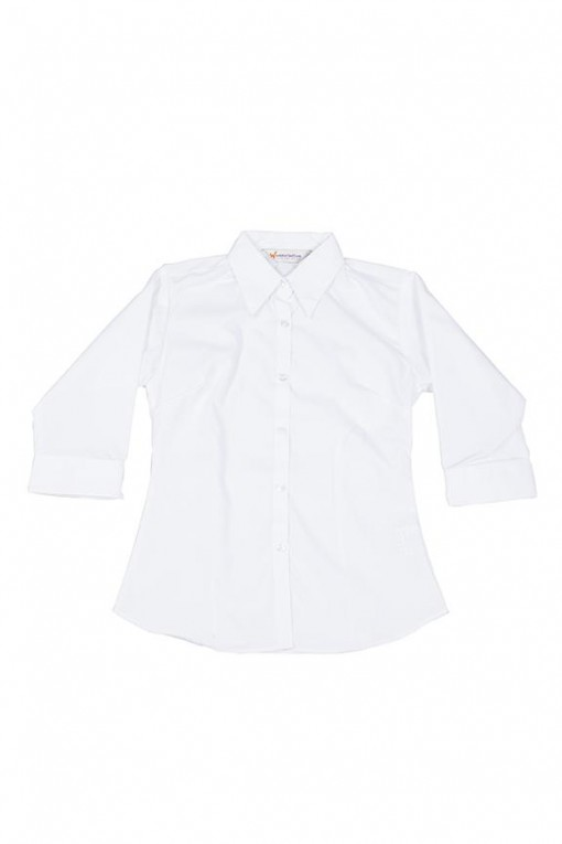 3/4 sleeve button to neck fitted girls blouse
