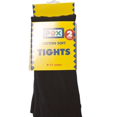 Girls black cotton soft tights school uniform