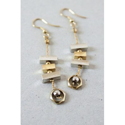 Nomads block gold earrings